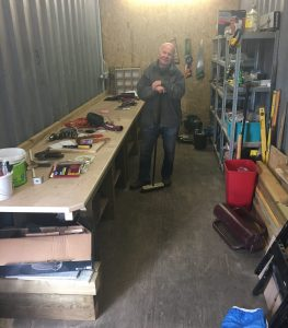 the workshop at Braehead, built by volunteer garden member Jim Kirk
