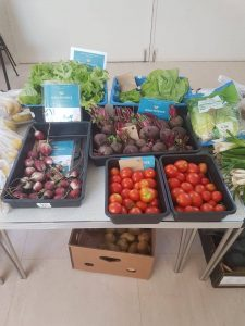 A great display of some of the fresh, local produce grown at Braehead Community Garden